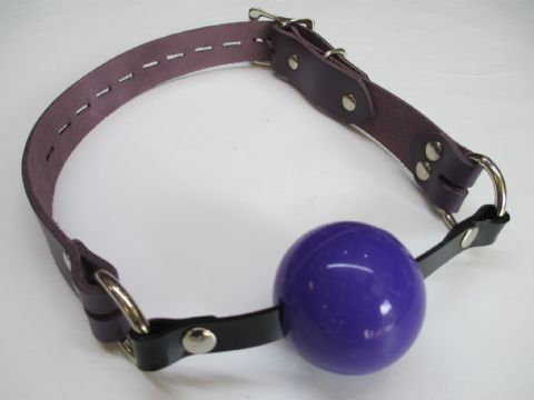 Midnight Purple Leather Lockable Medical Grade Silicone Ball gag